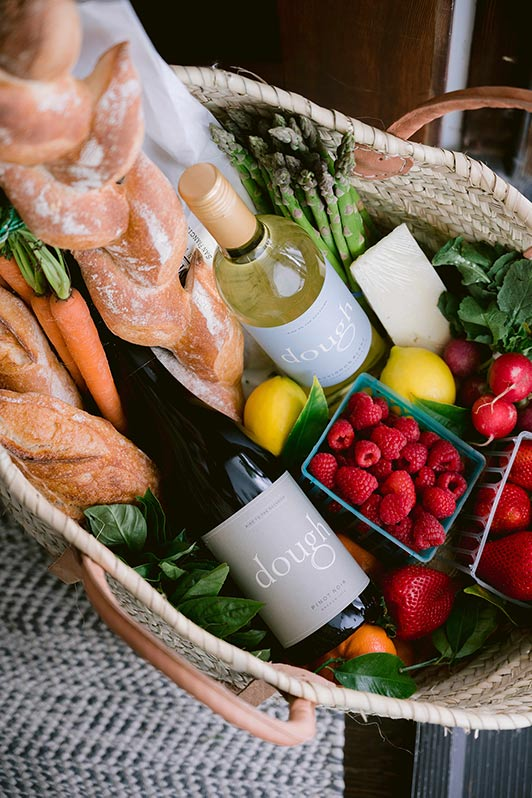 farmers market with produce and dough wines