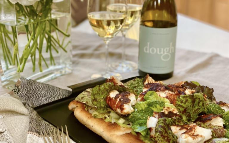 Seared Alaskan Halibut with Pea Puree and Pesto Over Focaccia and Dough Wines Chardonnay