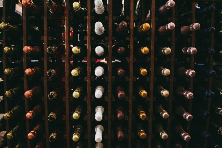 Wines in a wine rack